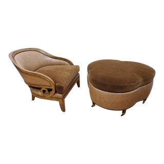Art Deco Designer Barrel Back Chair and Clover Shaped Ottoman For Sale