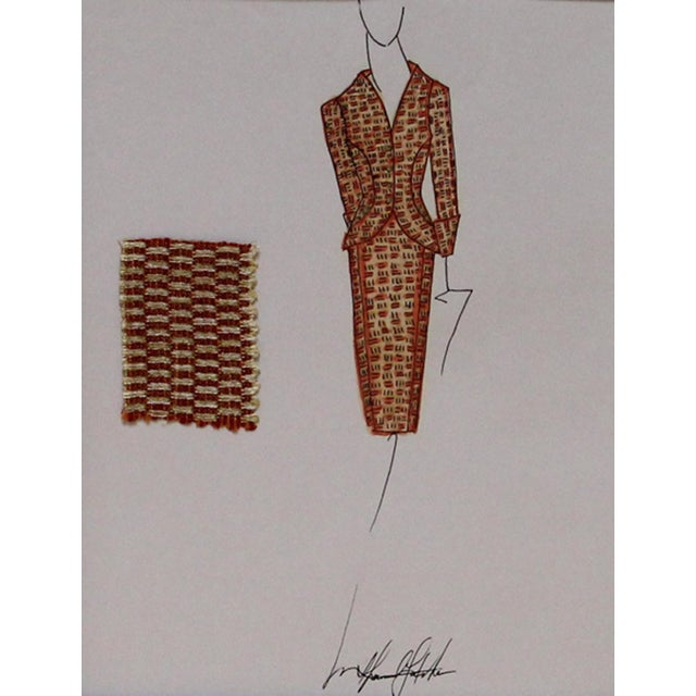 Vibrant orange and gold ladies luncheon suit fashion illustration with textile swatch, a hand colored ink drawing on paper...