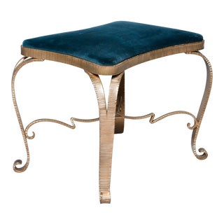 Spanish Gilt Iron Stool With Teal Upholstery For Sale