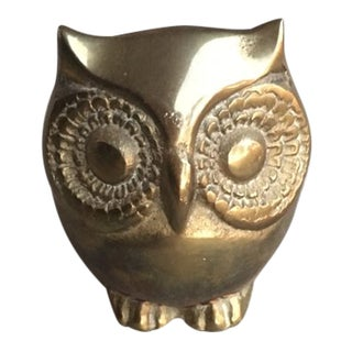 Vintage Mid Century Brass Owl Paper Weight For Sale
