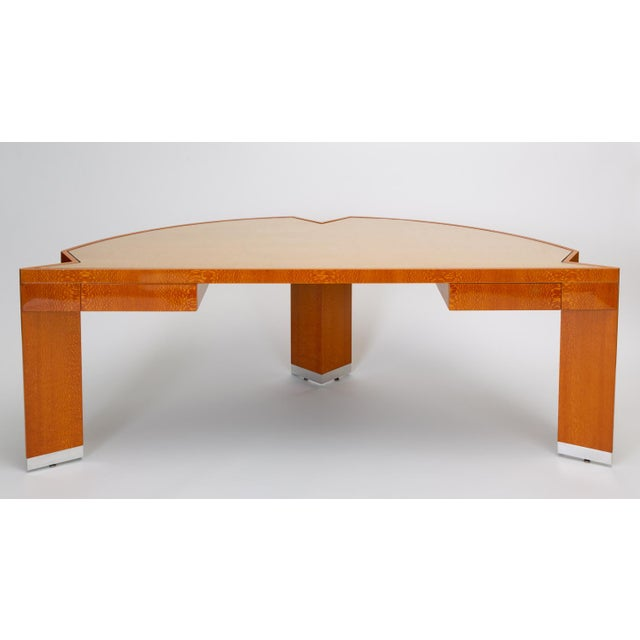 """Tan Custom Lacewood """"Mezzaluna"""" Desk by Pace Collection For Sale - Image 8 of 13"""