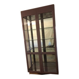 Vintage Glass and Metal China Cabinet For Sale