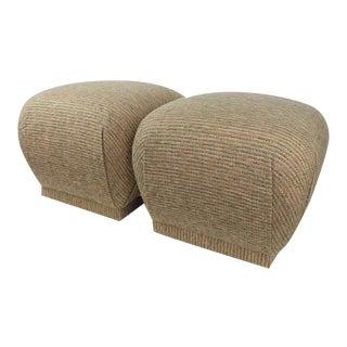 Vintage Tweed Wool Fabric Neutral Color Pouf Ottomans - a Pair