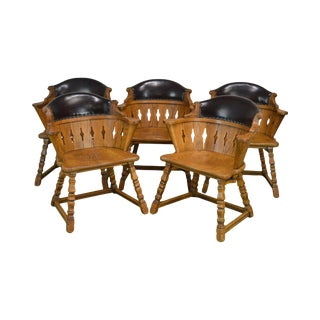 Romweber Viking Oak Leather Back Set of 5 Captains Dining Arm Chairs For Sale