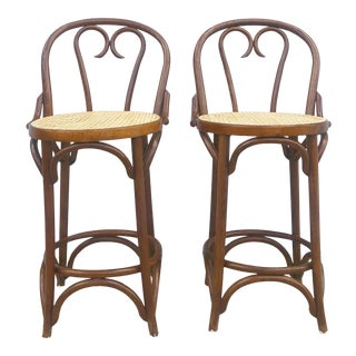 Mid Century Bentwood Counter Stools With Caning For Sale