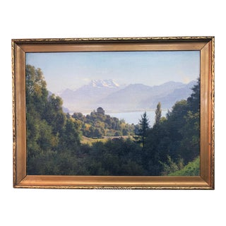 1895 Antique W. Bentley Swiss Mountain Landscape With Chateau Painting For Sale