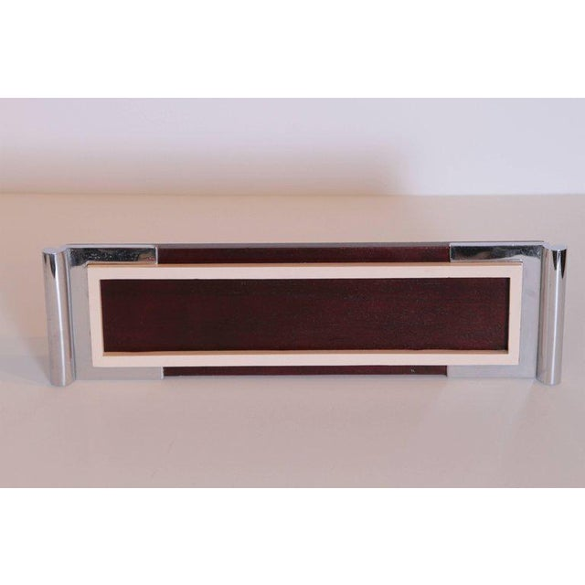 Art Deco Machine Age Asprey Drinks Tray in Mahogany/Ivory Lacquer/Chrome For Sale In Dallas - Image 6 of 11