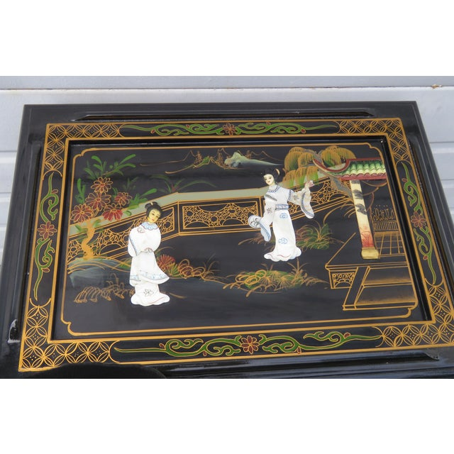 Oriental Black Painted Nesting Tables Set of Four For Sale - Image 4 of 13