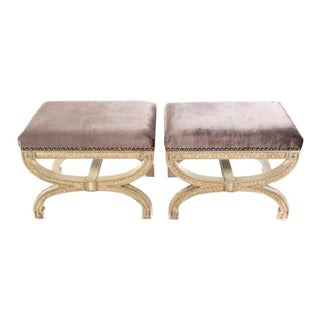Contemporary Cream Painted & Upholstered Stools - a Pair For Sale