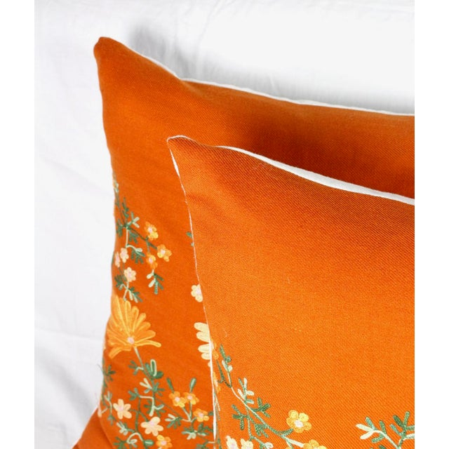 "Boho Chic Custom Made Hand-Embroidered ""Hermes"" Orange Cashmere Pillows - A Pair For Sale - Image 3 of 6"