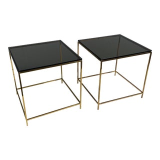 1970s Mid-Century Modern Brass and Smoke Glass End Tables - a Pair For Sale