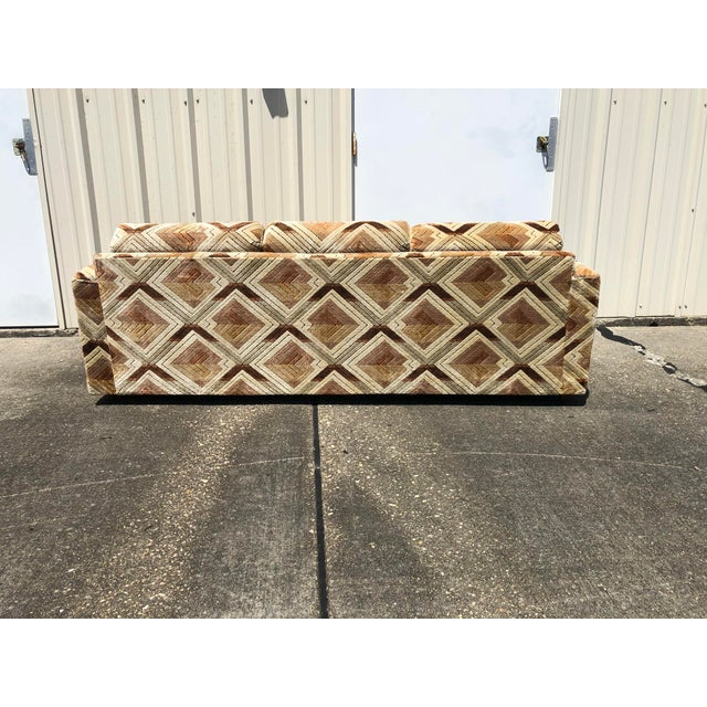 1970s Tuxedo Sofa With Jack Lenor Larsen Style Fabric For Sale In New Orleans - Image 6 of 11