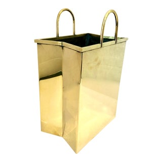 Mid-Century Italian Small Solid Brass Shopping Bag For Sale