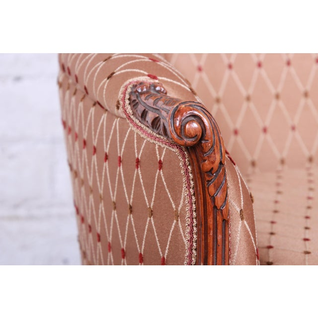 Antique French Carved Wing Back Lounge Chair For Sale - Image 9 of 13