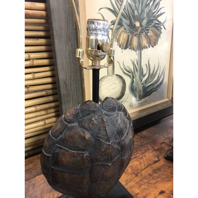 Faux Turtle Shell Lamps- a Pair For Sale - Image 4 of 8