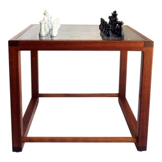 1970s Mid-Century Modern Walnut & Glass Game Table with Chess Set - 33 Pieces