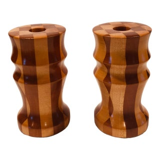 1970s Hand-Crafted Wood Candle Holders - a Pair For Sale