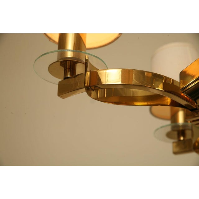 French Brass and Glass Chandelier Inspired by Gilbert Poillerat - Image 9 of 9