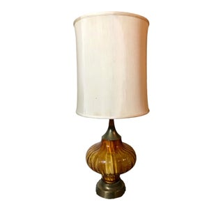 Large Mid-Century Hollywood Regency Amber Glass Table Lamp With Shade For Sale