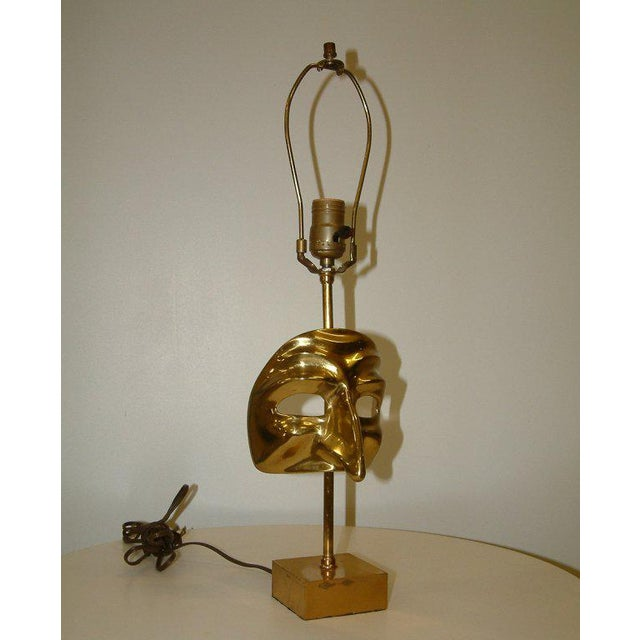 Commedia Dell'Arte Brass Mask Table Lamp For Sale In Richmond - Image 6 of 9