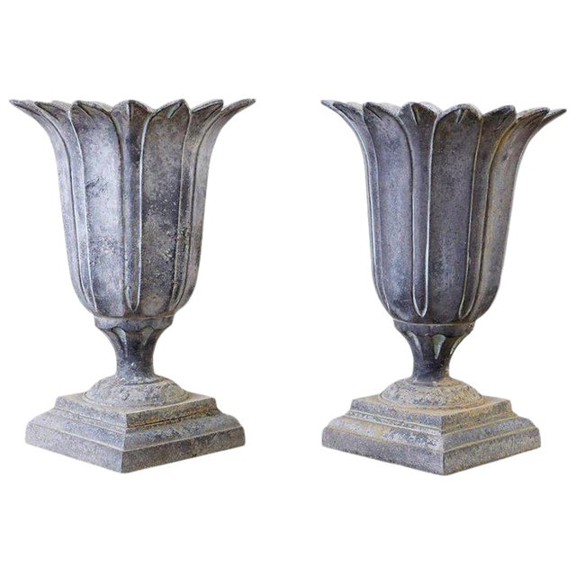 Pair of French Neoclassical Tulip Form Garden Urn Planters For Sale