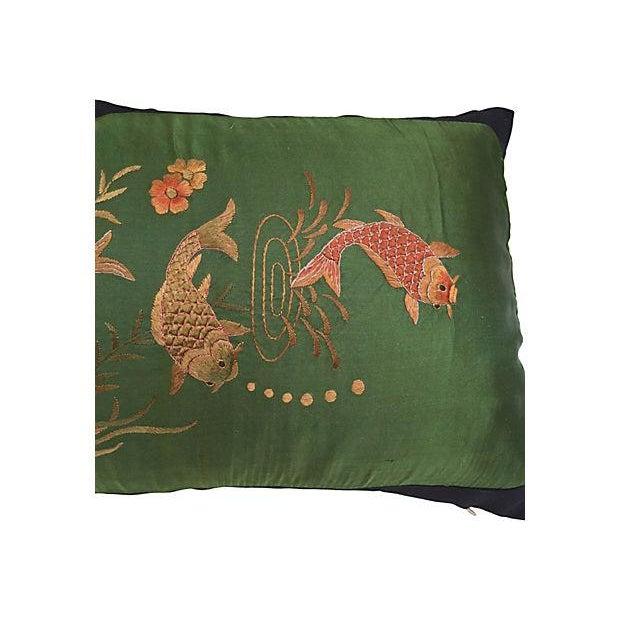 Asian Embroirered Koi Fish Jade Silk Pillow - Image 3 of 5