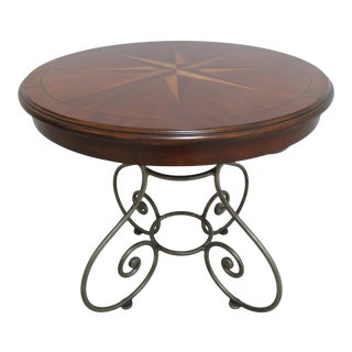 Ethan Allen Legacy Inlay Sunburst Wrought Iron Center End Table For Sale