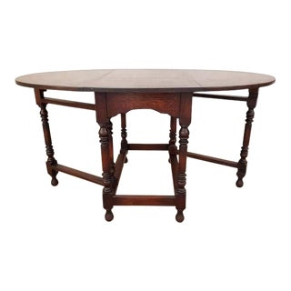 Antique Barley Twist Oak Folding Dining Table Oval Gate Leg Early 1900's For Sale