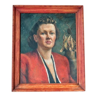 1940s Portrait Painting of Woman For Sale