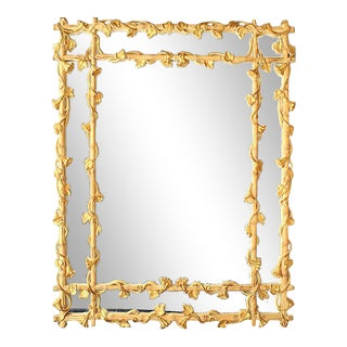 Stripped Faux Bamboo Wall Mirror For Sale