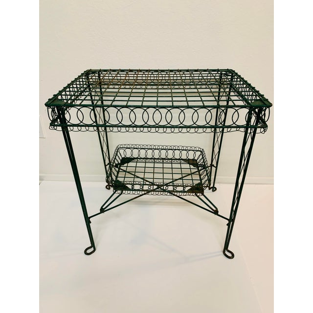 Victorian Iron Scroll Garden Patio Table With Tray Plant Stand Bar Cart For Sale - Image 13 of 13