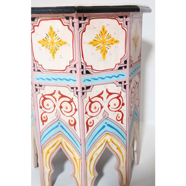 Moroccan Moroccan Hand Painted Side Tables - a Pair For Sale - Image 3 of 13