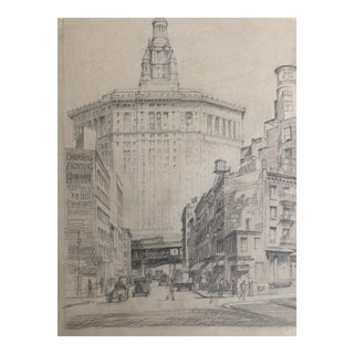 Early 20th Century New York City Drawing by Earl McKinney For Sale