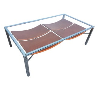 Chrome Tubular Rectangle Glass Top Coffee Table With Leather Wrapped Magazine Rack For Sale