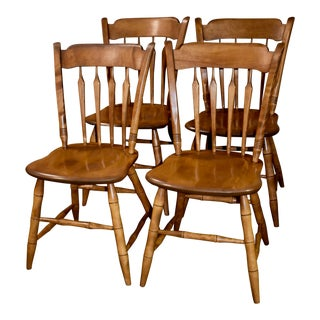 1940s Vintage Ethan Allen Early American Style Dining Chairs- Set of 4 For Sale