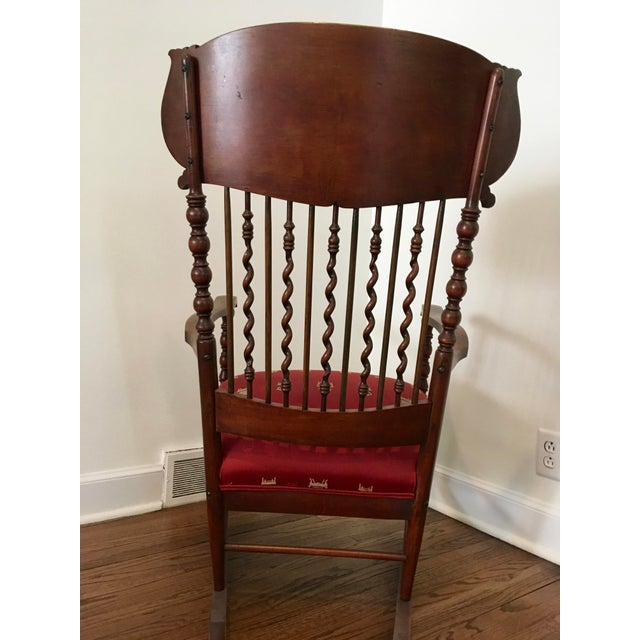 Late 19th Century Vintage Mahogany Spindle Rocking Chair For Sale - Image 5  of 6 - Vintage Mahogany Spindle Rocking Chair Chairish
