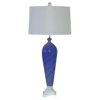 Dino Martens Murano Glass Table Lamp Blue For Sale