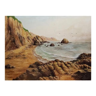Rocky Coastal Seascape Oil Painting by August Wolf For Sale