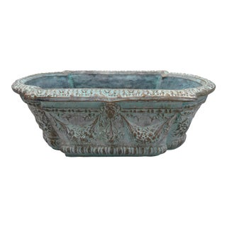 Vintage French Mediterranean-Style Tiffany Blue & Bronze Elongated Concrete Garden Planter For Sale