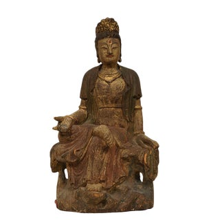 19th Century Antique Chinese Wooden Carved Kwan Yin Statue For Sale