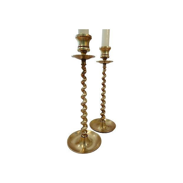 Brass Twisted Base Candle Sticks - Pair - Image 3 of 5