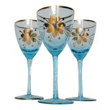 Image of Vintage C.1950s Czechoslovakian Hand-Blown Brilliant Blue and Gilt Rimmed Wine Glasses -Set of 3 For Sale