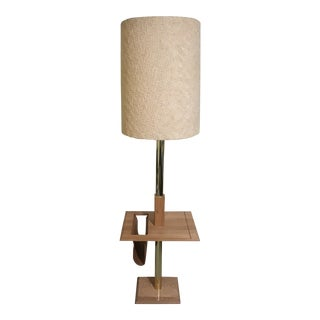 Laurel Style Table Floor Lamp & Magazine Holder Oak For Sale