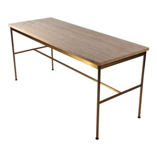 Paul McCobb Irwin Collection Brass and Travertine Sofa Table For Sale