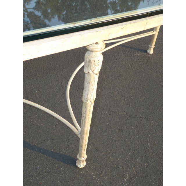 Vintage French Country Style Oval Off-White Iron Glass Top Coffee Table - Image 6 of 10