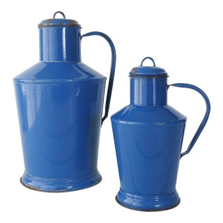Early 20th Century Hungarian Blue Enamelware Pitchers - a Pair For Sale