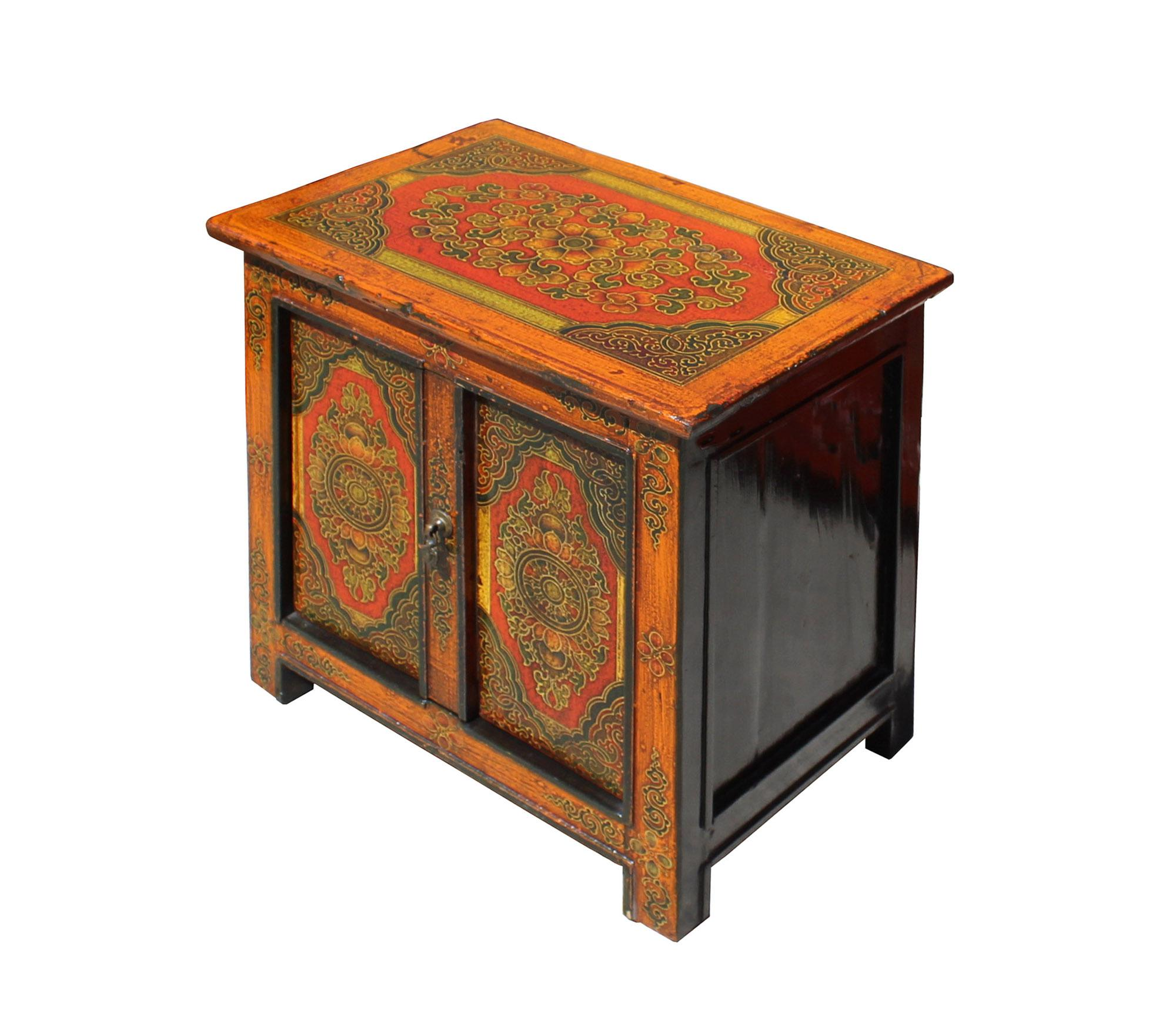2010s Chinese Multi Color Tibetan Flower Motif Small Table Cabinet For Sale    Image 5