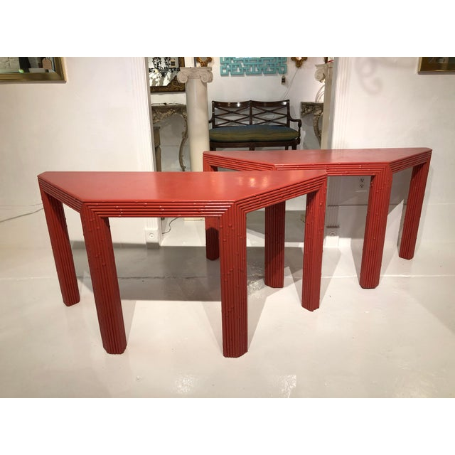 Chinese Red Bamboo Style Console Tables - a Pair For Sale - Image 13 of 13