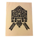 Image of 1930s Female Nude Woodcut Bookplate For Sale