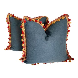 Blue Large Euro Pillows With Red, Gold and Blue Tassel Trim - a Pair For Sale